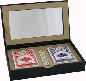 Dice and Cards Set in a High Quality PU Travel Case