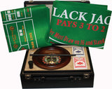 Roulette, Poker Set with Chips and Playing Mats in a High Quality Large Black PU Case