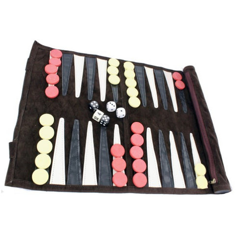 A Travel Rolled Leather Backgammon Set in a PU Carry Case