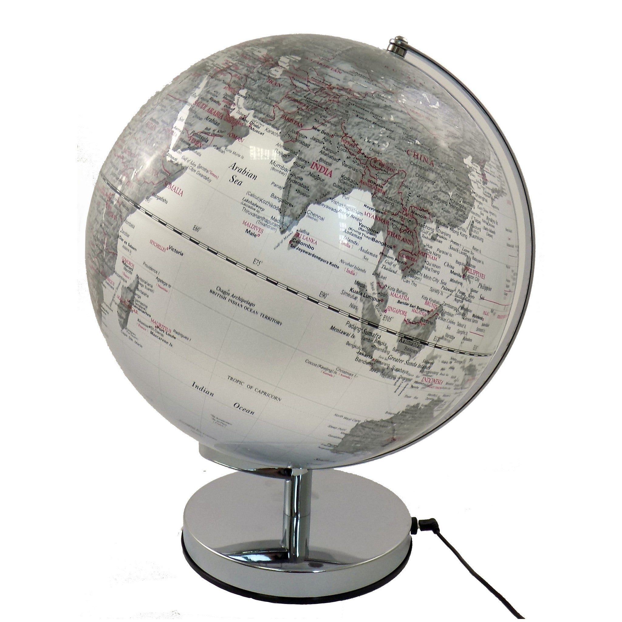 30 cm Silver Ocean Illuminated World Globe