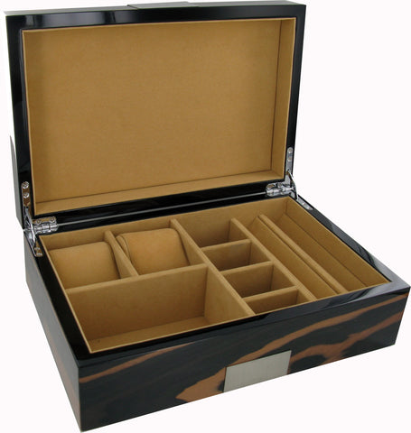 Real Hardwood Jewellery Box with 2 Watch Compartments Ebony Finish