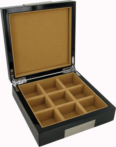 Real Hardwood Cufflink Box with 9 Sections Ebony Finish