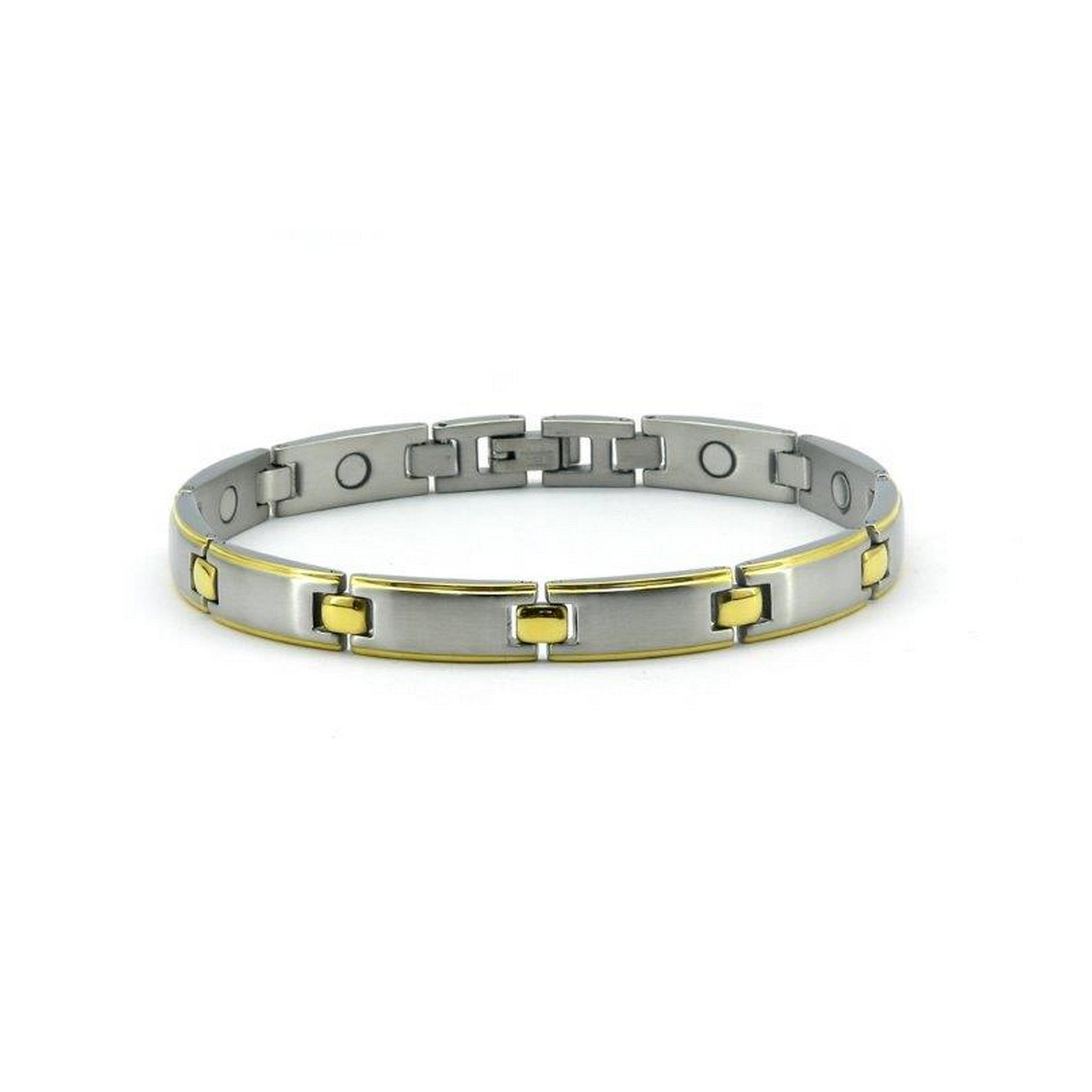 Magnetic Stainless Link Health Bracelet Brushed Silver & Gold Colour,  3000 Gauss