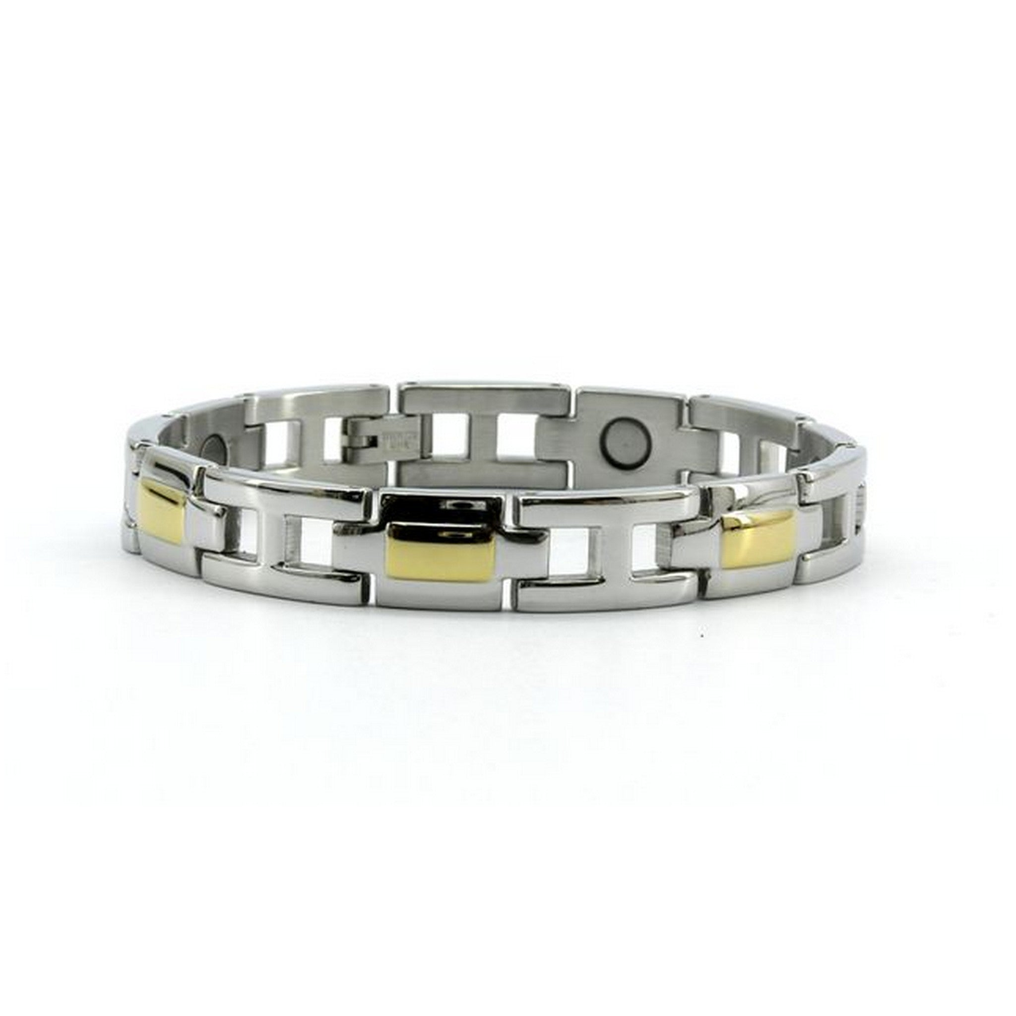 Magnetic Stainless Link Health Bracelet High Polish Silver & Gold Colour, 3000 Gauss