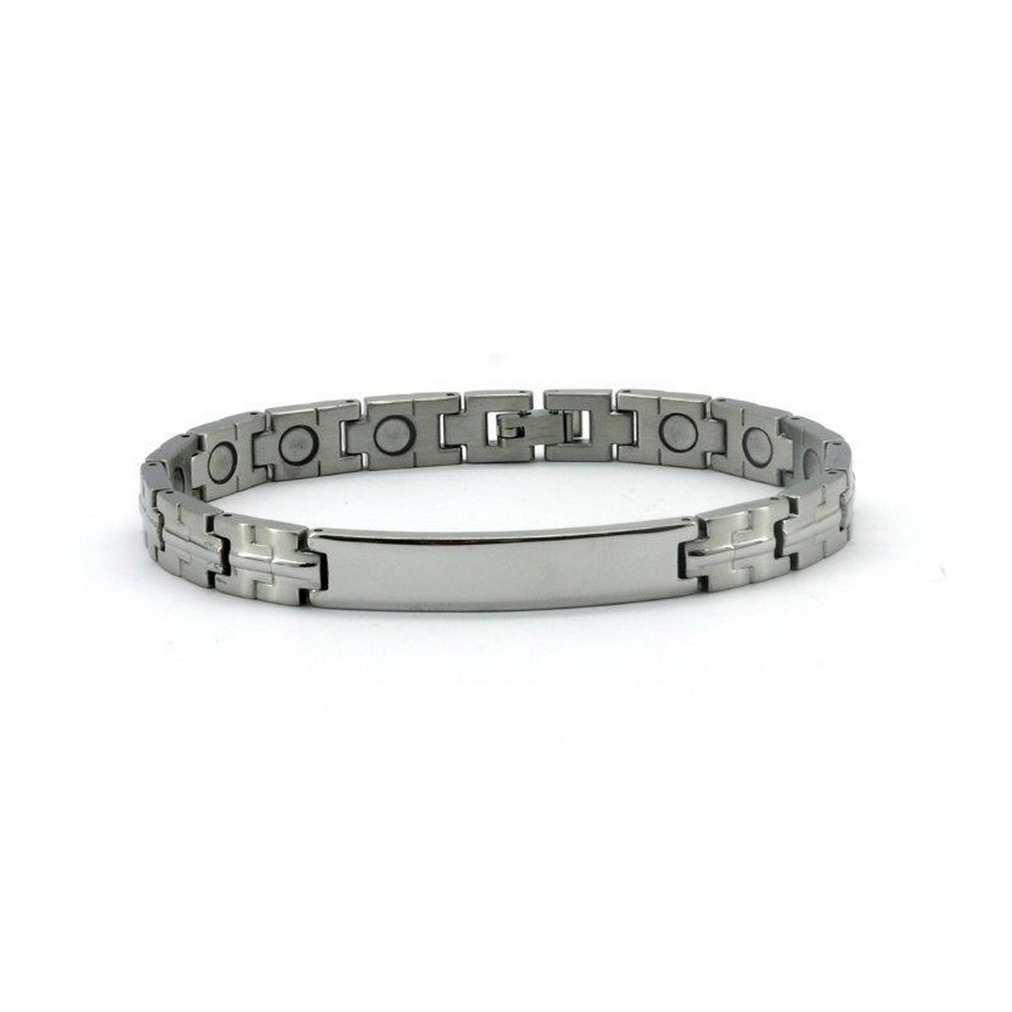 Magnetic Stainless Link Health Bracelet Brushed Silver Colour with Engraving Plate, 3000 Gauss