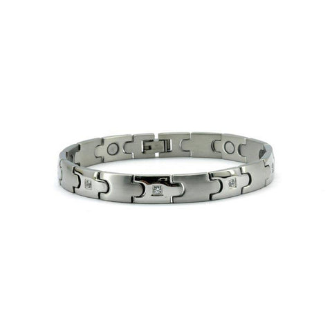 Magnetic Stainless Link Health Bracelet Brushed High Polish Silver w/ Cubic Zirconia, 3000 Gauss