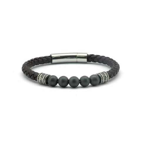 Magnetic Brown Leather Health Bracelet Hematite Stones, 800 Gauss