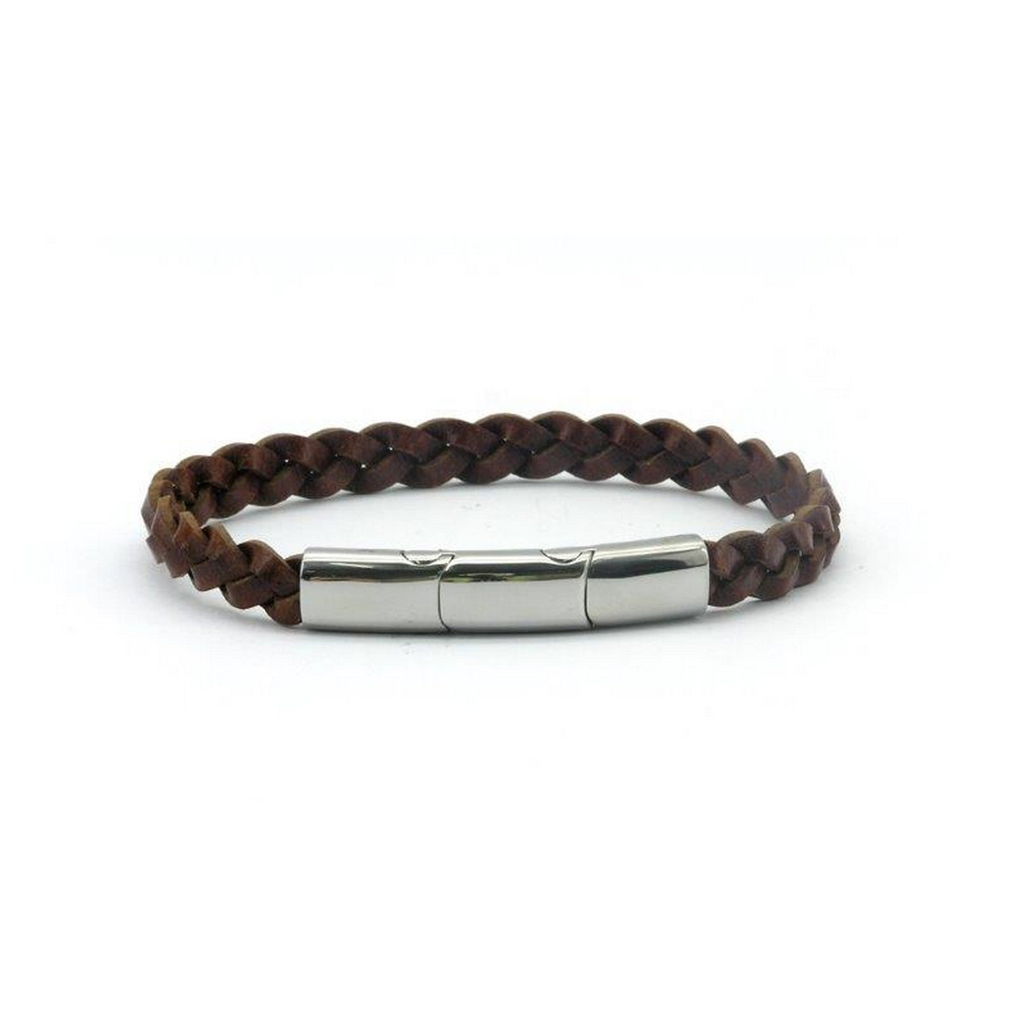 Magnetic Brown Leather Single Plaited Health Bracelet  2900 Gauss