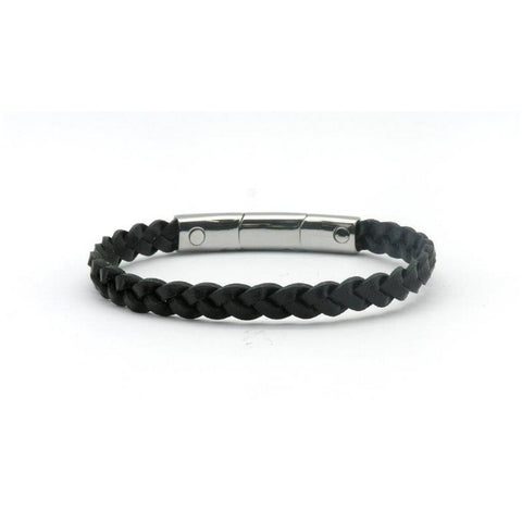 Magnetic Black Leather Single Plaited Health Bracelet 2900 Gauss