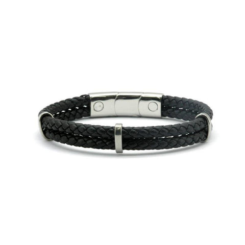 Magnetic Black Leather Double Plaited Health Bracelet 2000 Gauss