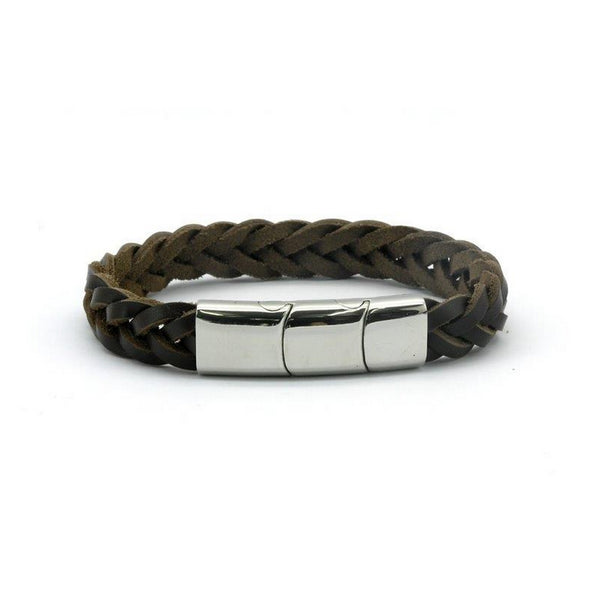 Magnetic Black Leather Single Plaited Health Bracelet, 2000 Gauss