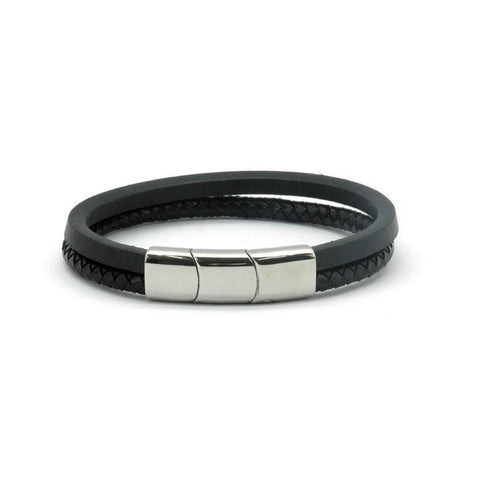 Black Leather Double Strap Magnetic Health Bracelet