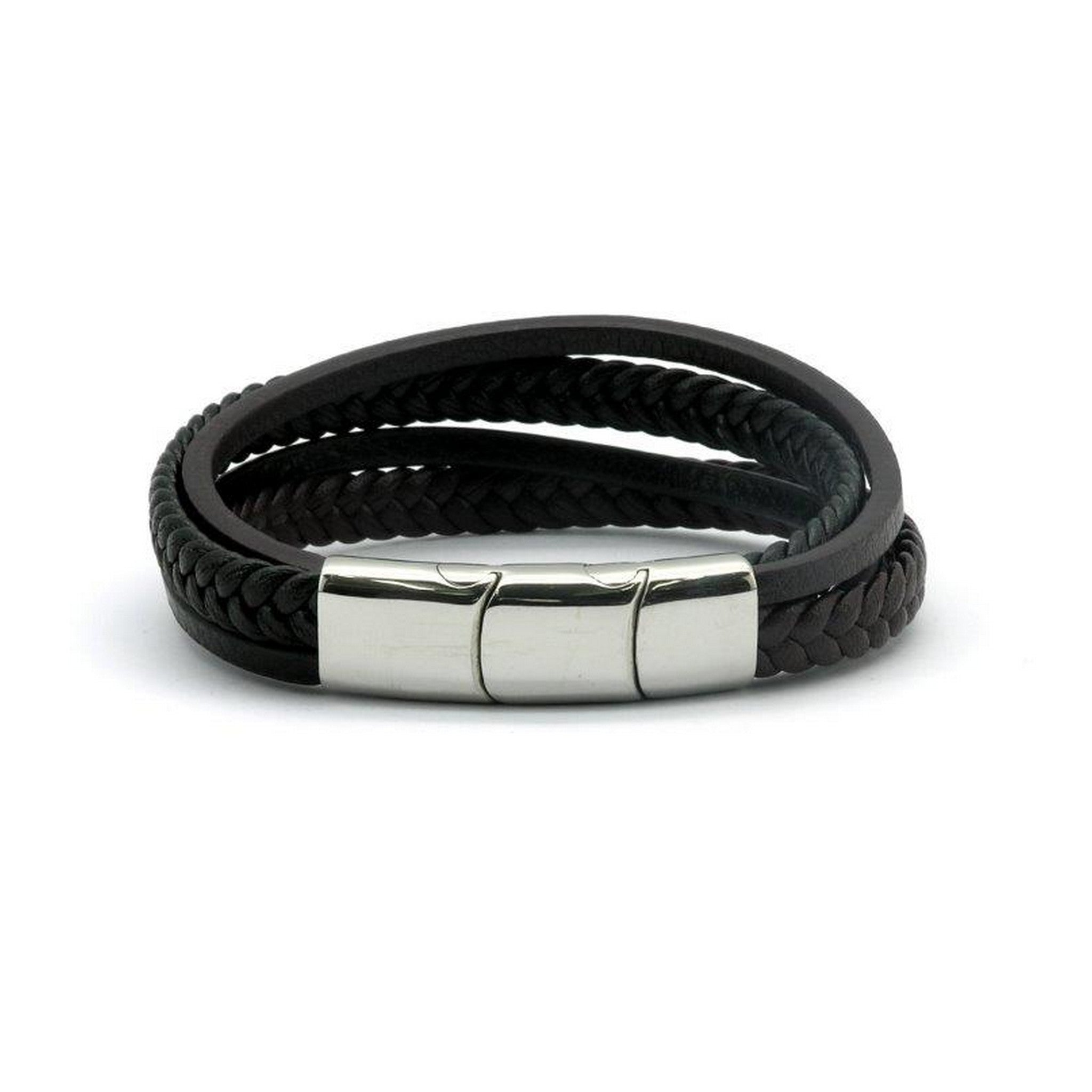 Magnetic Black Leather Multi Strap Health Bracelet 2000 Gauss