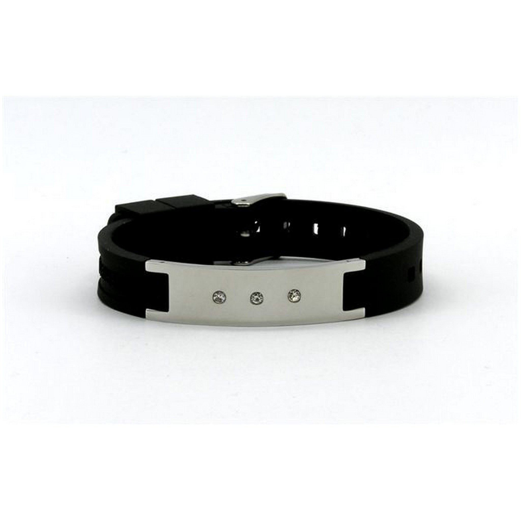 Chrome with Crystals Panel Silicone Magnetic Power Bracelet