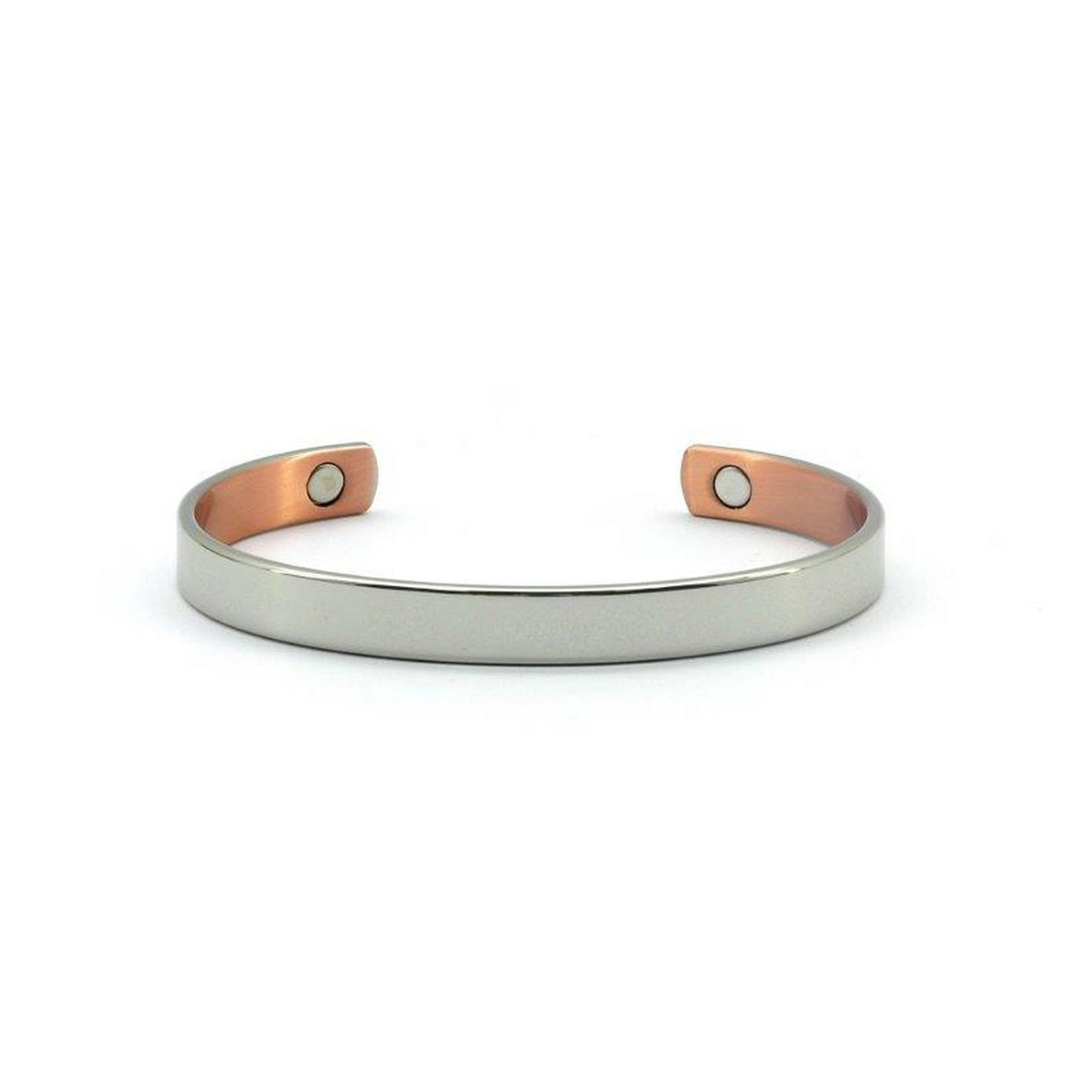 Magnetic Copper High Polished Silver Colour Health Bangle, 2 Magnets, 1800 Gauss