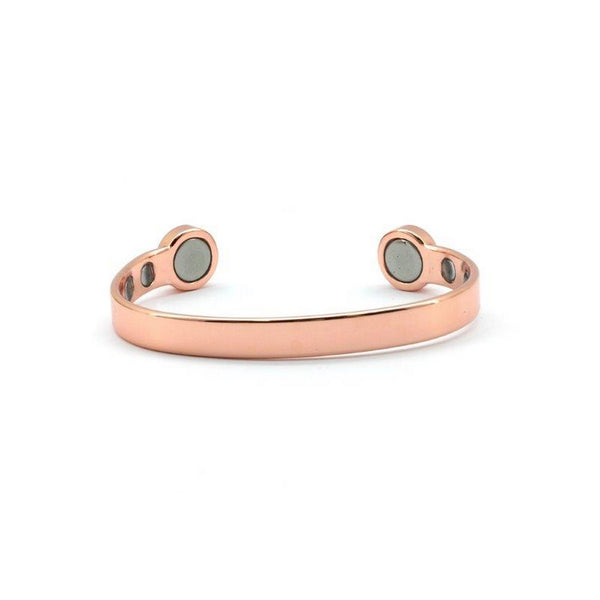 Magnetic Copper High Polished Rose Gold Colour Health Bangle, 6 Magnets, 1800 Gauss