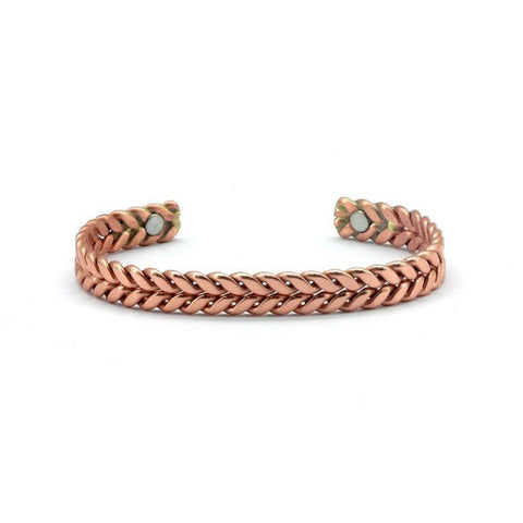 Magnetic Copper High Polish Double Plaited Rose Gold Colour Health Bangle. 2 Magnets, 1800 Gauss