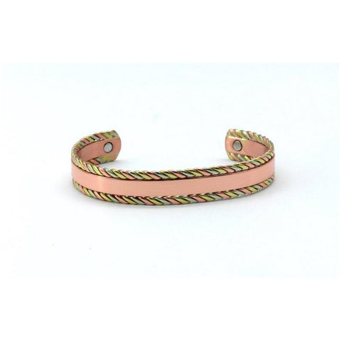 Magnetic Copper Health Bangle with Rose Gold, Silver and Gold Colour High Polish. 2 Magnets, 1800 Gauss