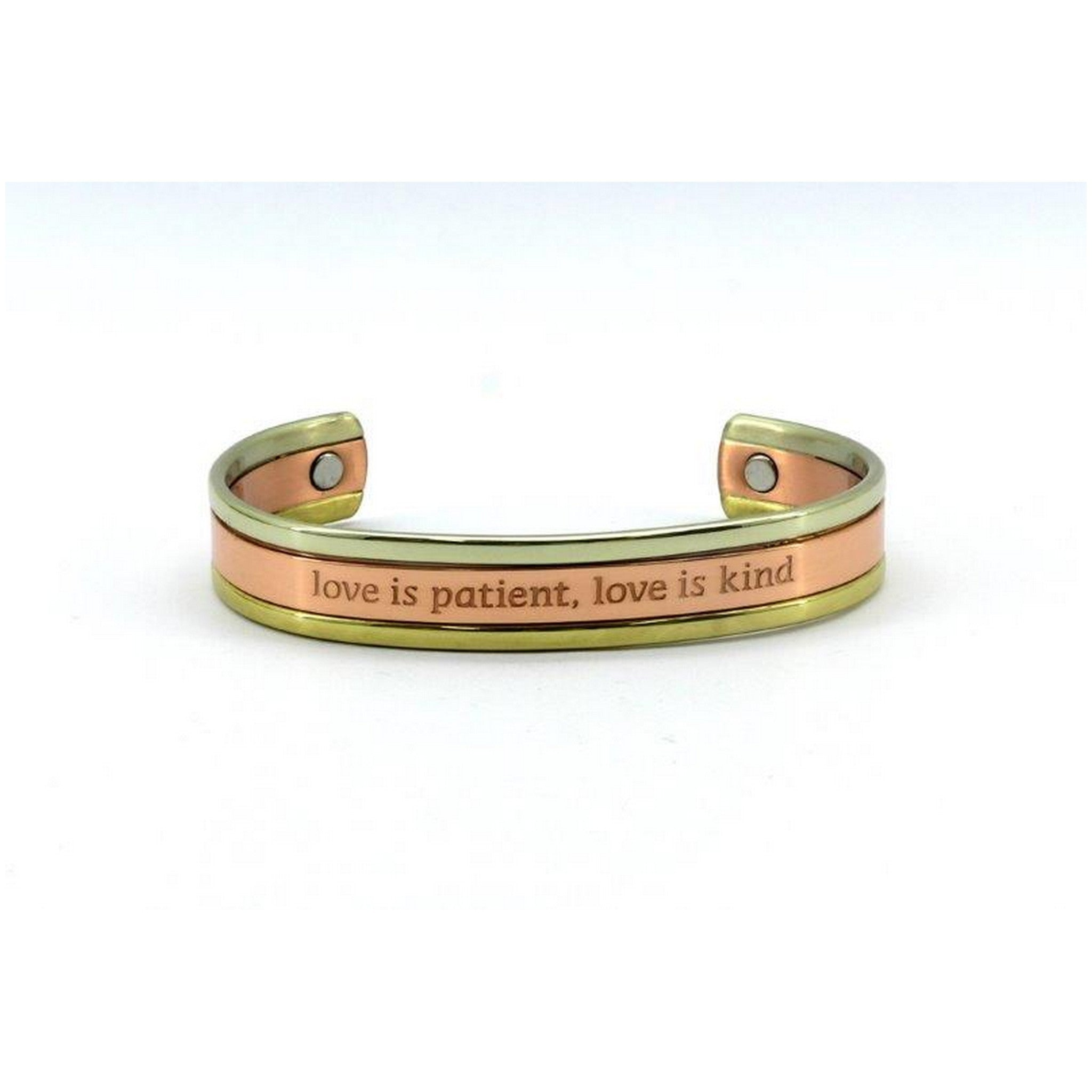 Magnetic Copper Health Bangle with Gold and Rose Gold Colour High Polished, 2 Magnets, 1800 Gauss