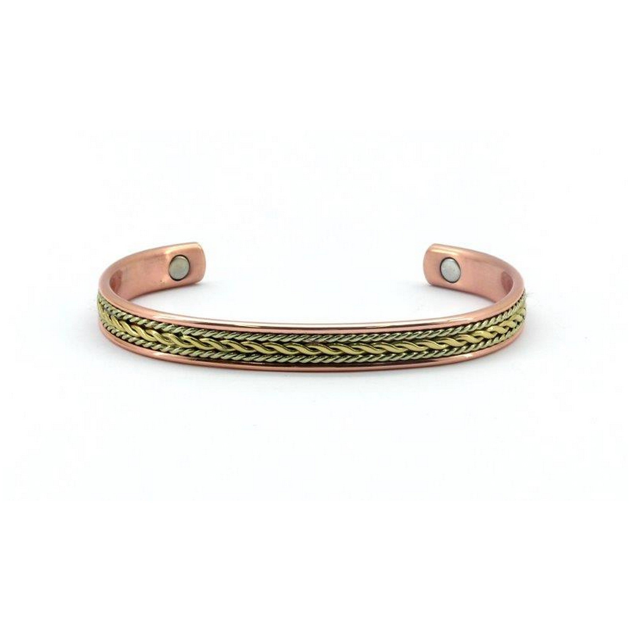 Magnetic Copper High Polished Rose Gold & Yellow Gold Colour Magnetic Twisted Health Bangle, 2 Magnets, 1800 Gauss