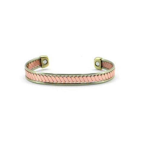 Magnetic Copper High Polished Rose Gold/ Yellow Gold Twisted Health Bangle,2 Magnets, 1800 Gauss