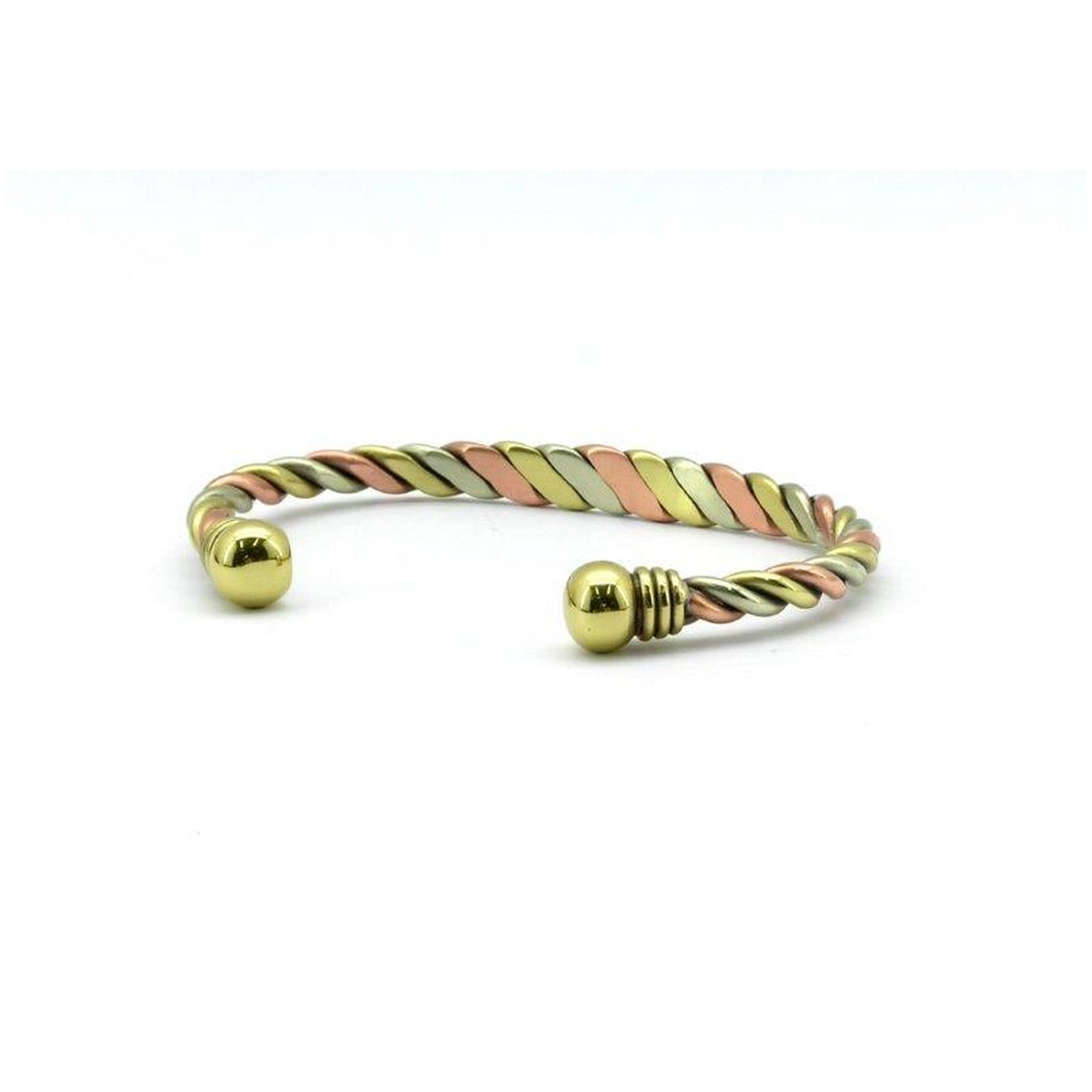 Magnetic Copper High Polish Silver,Rose Gold & Yellow Gold Twisted Health Bangle,2 Magnets, 1800 Gauss