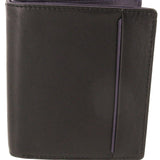 Black & Purple Calf Leather Note and Credit Card Case