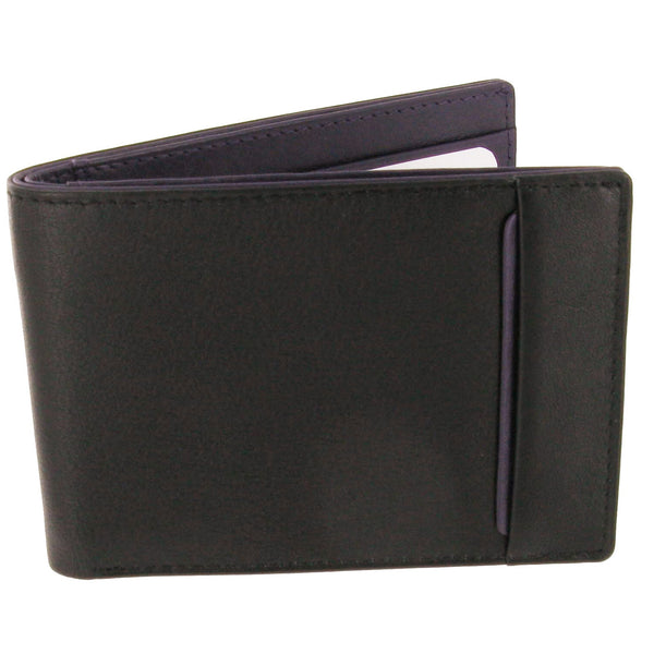 Black & Purple Calf Slim Leather Wallet with Pass Case