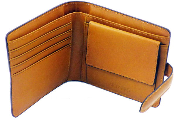 Mustard Italian Leather Wallet with Credit Card Space & Coin Pocket