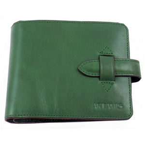 Green Italian Leather Wallet with Credit Card  & Coin Pocket