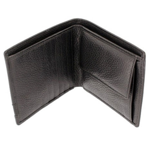 Black Leather Wallet with Credit card Space & Coin Pouch