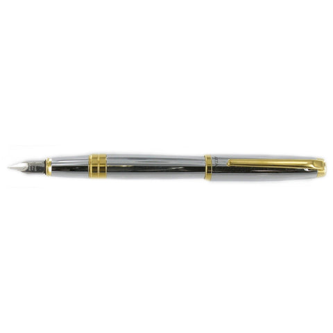 Plato Fountain Pen High Polished Chrome & Gold