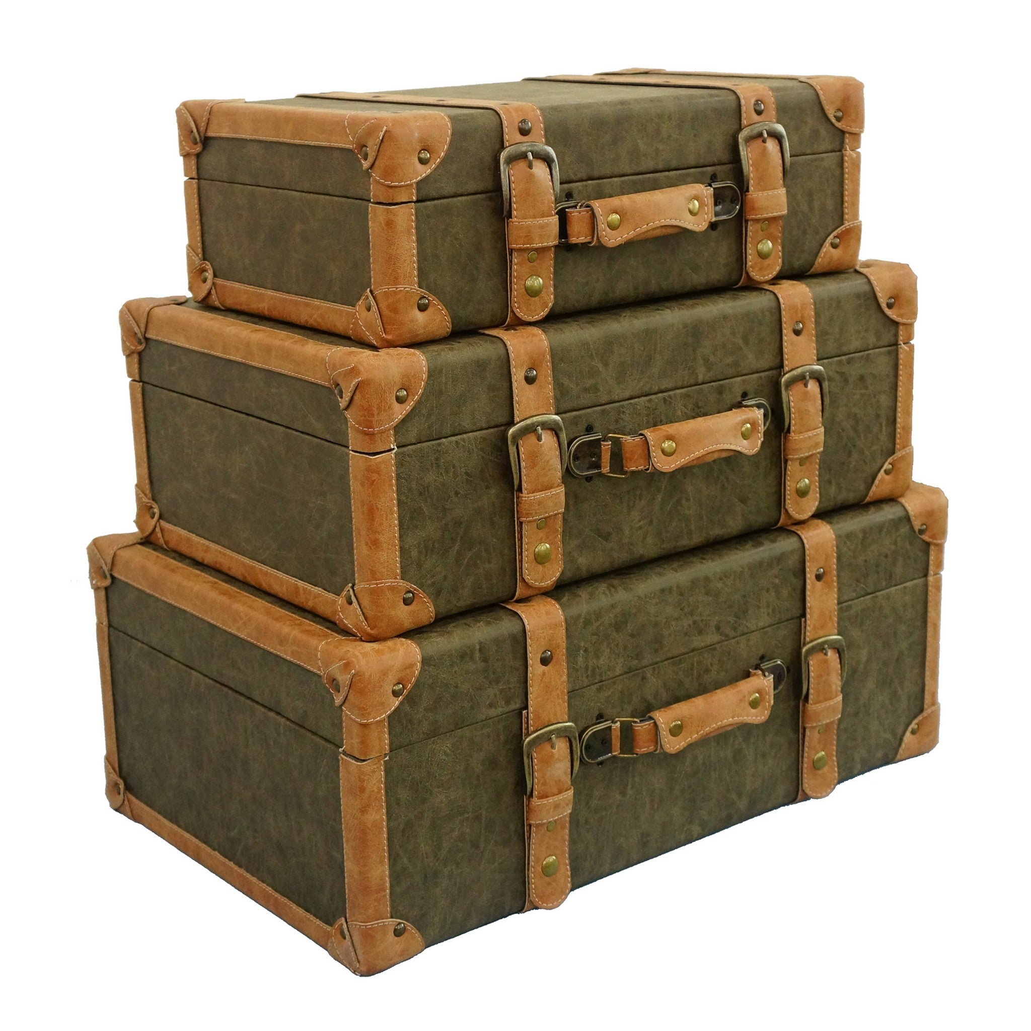 Set of 3 Olive Storage Trunks With PU Leather Covering