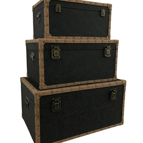 Set of 3 Black Storage Trunks With PU Leather Covering