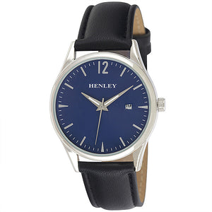 Henley's Minimal Calendar Watch in Silver with Blue Face & Black Strap