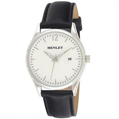 Henley's Minimal Calendar Watch in Silver with White Face & Black Strap
