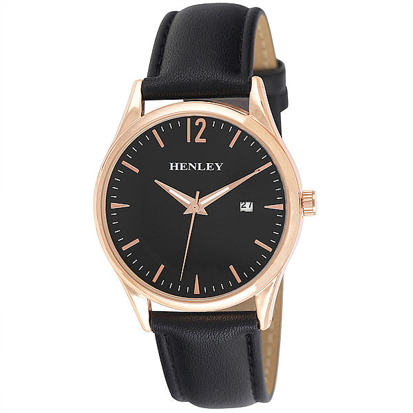 Henley's Minimal Calendar Watch in Rose Gold with Black Face & Black Strap
