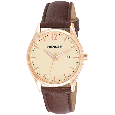 Henley's Minimal Calendar Watch in Rose Gold with Gold Face & Brown Strap