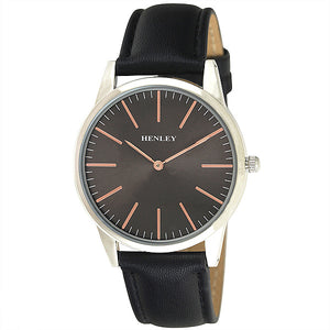 Henley's Slim Curved Lens Fashion Watch in Silver with Black & Rose Gold Face and Black Strap
