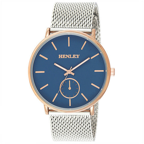 Henley's Men's Two Tone Mesh Bracelet in Gold with Blue Face with Silver Strap