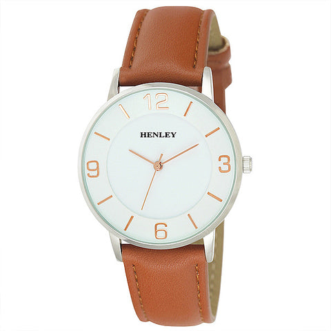 Henley's Men's Two Level Front Loader in Silver with White Face & Tan Strap