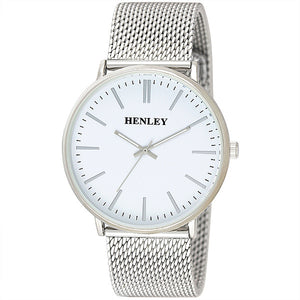Henley's Mens Minimal Mesh Bracelet in Silver with White Face Watch