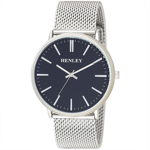 Henley's Men's Contemporary Index Mesh in Silver with Blue Face & Silver Mesh Strap