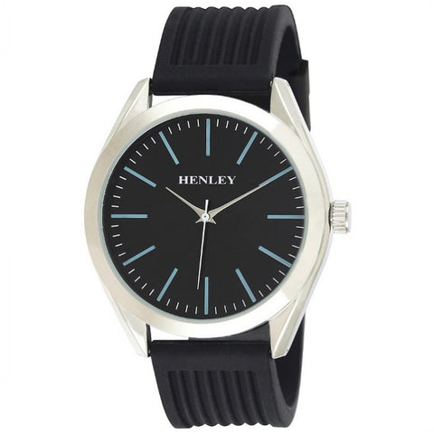 Henley's Men's Striped Silicon Watch in Silver with Black Face & Black Rubber Strap