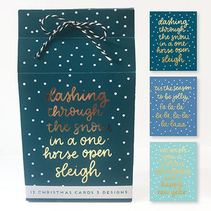 12 x Christmas Cards - Christmas Lyrics