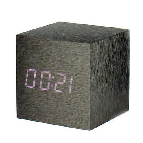 Minimalist Wooden Black Digital Clock 6.3 cm x 6.3 cm