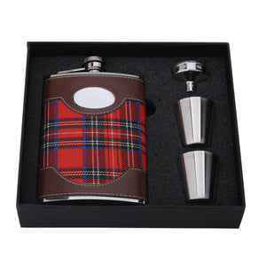 Stainless Steel 8oz Tartan Covered Hip Flask With Funnel & Cups