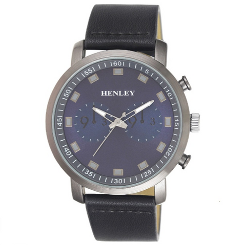Henley's Raised Index Sports Watch in Gun Metal with Grey Face & Brown Strap