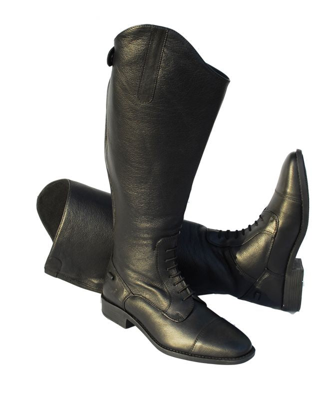 Clearance Rhinegold Wide Leg 'Luxus Extra' Black Leather Riding Boot