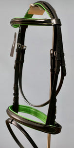 LEATHER PADDED COMFORT BRIDLE WITH GREEN COLOUR PADDING CONTRAST STITCHING